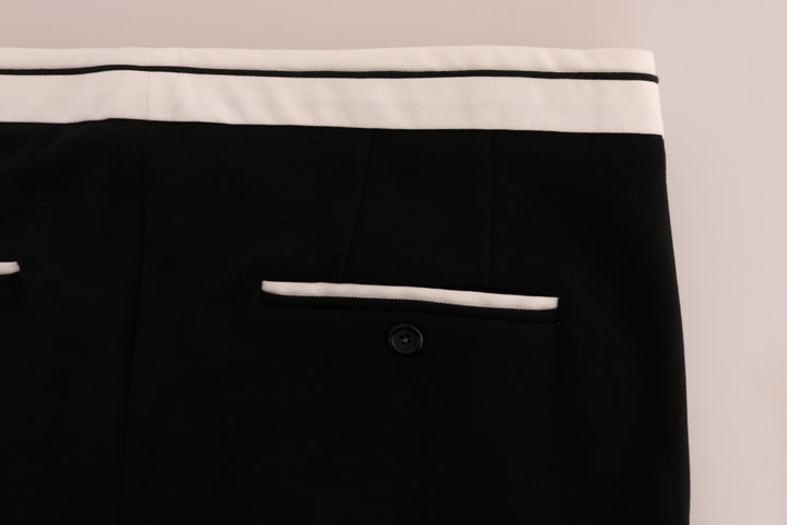 Black Cotton Stretch Casual Slim Pants