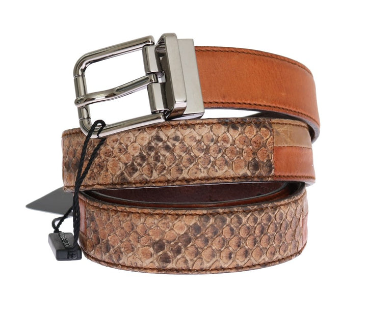 Brown Cayman Leather Snakeskin Belt