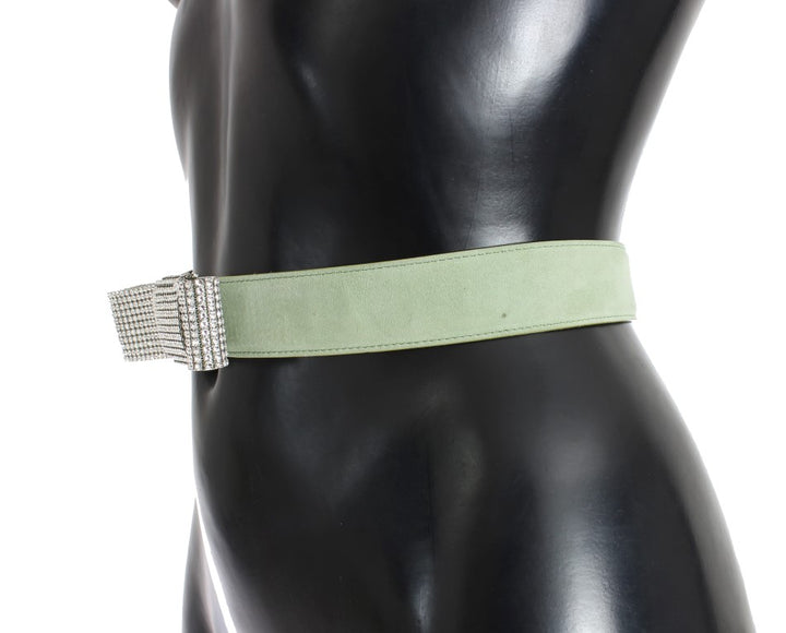 Green Leather Swarovski Crystal Waist Belt