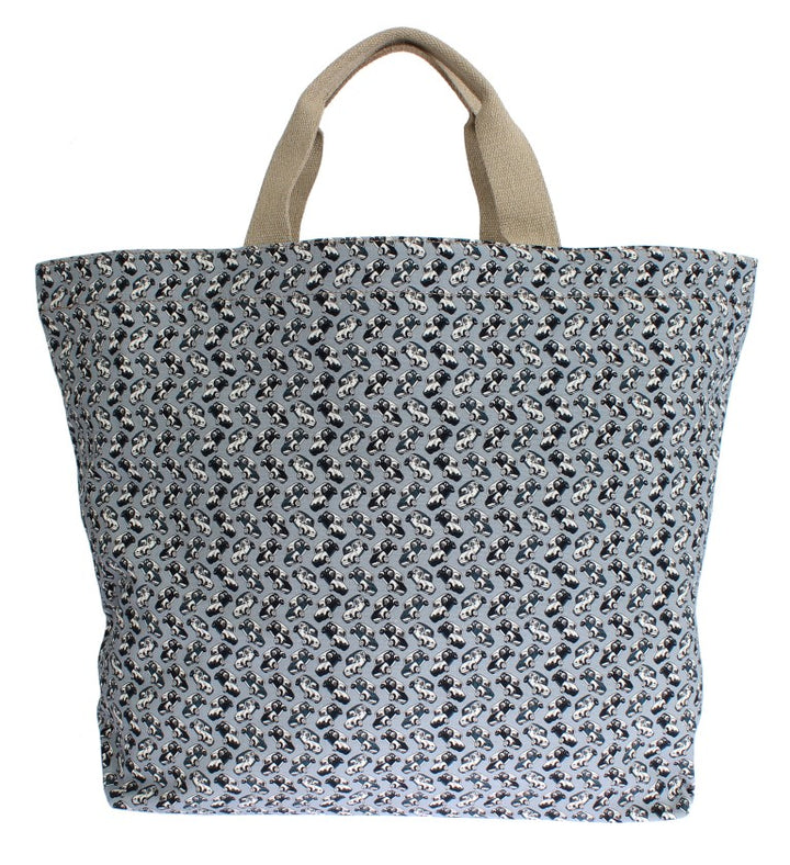 Blue Car Print Cotton Denim Hand Shopping Bag