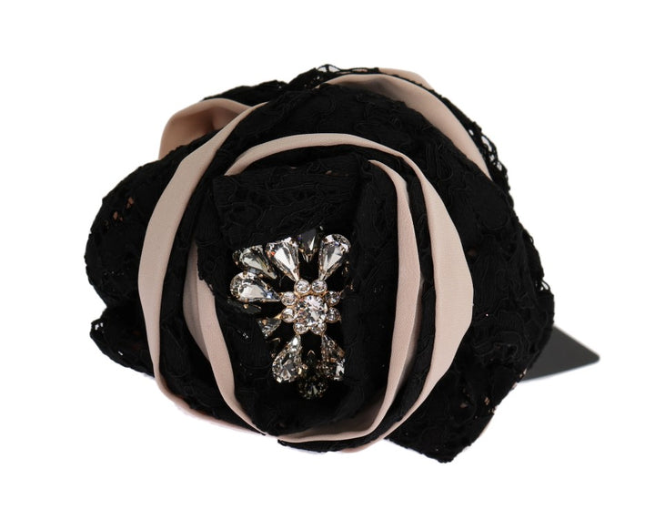 Pink Silk Black Lace Crystal Hair Claw