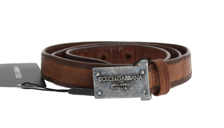 Brown Leather Logo Antique Buckle Belt