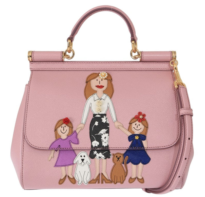 Pink FAMILIA Leather Dauphine Crystal Bag