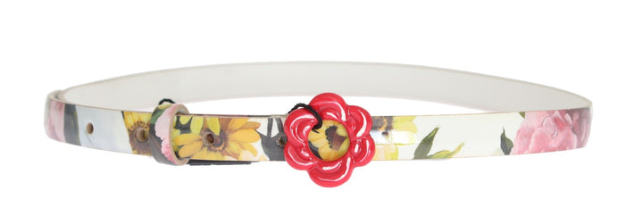 White Leather Floral Pattern Belt