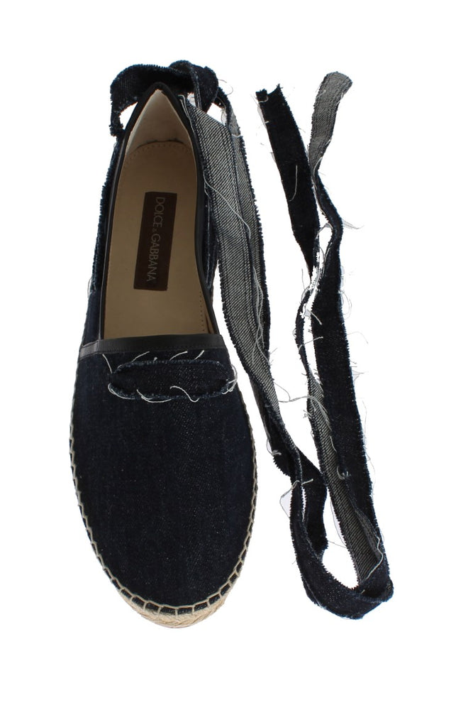 Blue Denim Strap Loafers Espadrilles