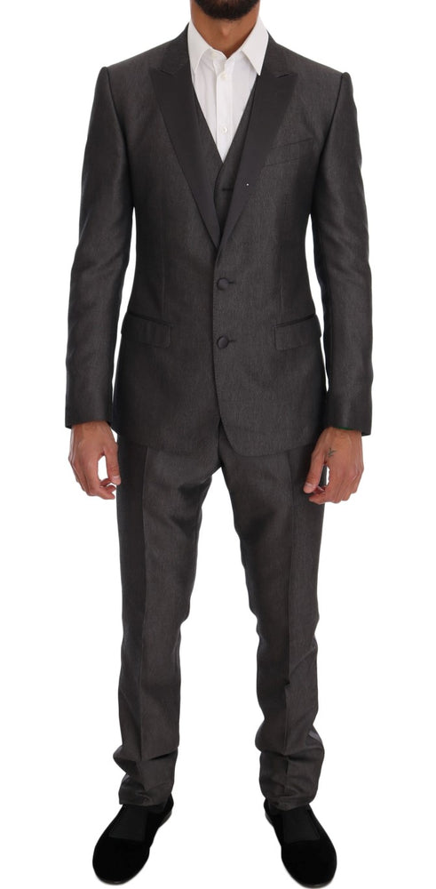 Gray Slim Fit MARTINI Wool 3 Piece Suit