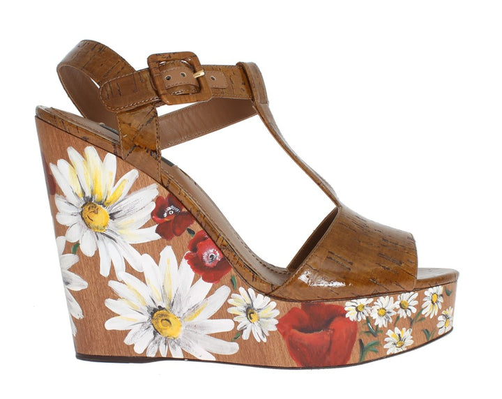 Brown Leather Floral Wedges Platform Shoes