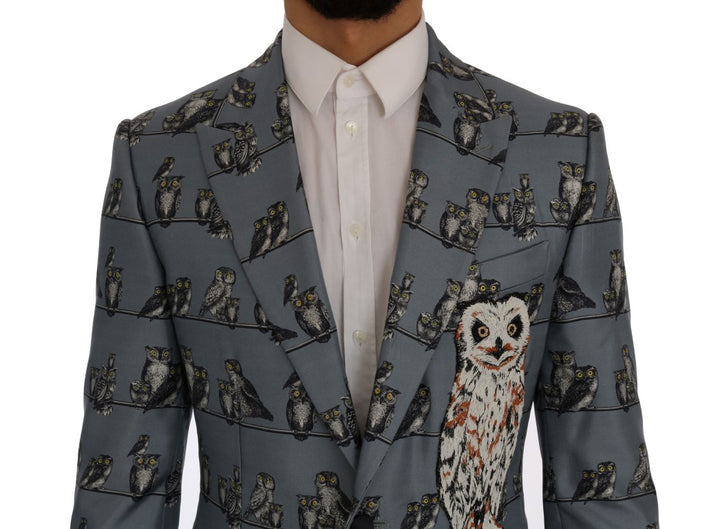 Blue Owl Print Slim Fit Blazer Jacket