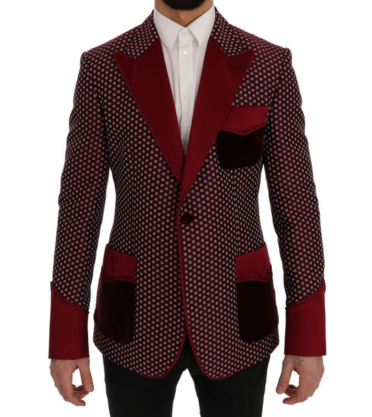 Red One Button Slim Fit Blazer Jacket