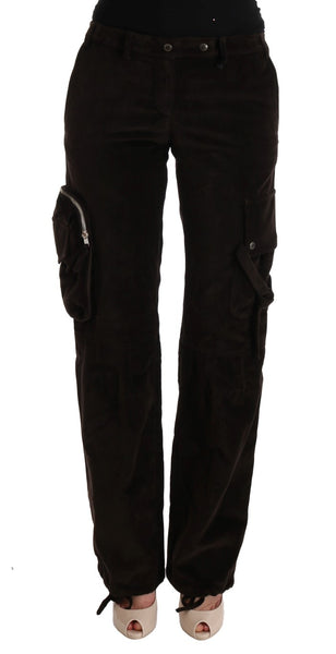 Brown Cotton Stretch Regular Fit Pants