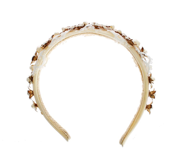 White Beige Silk Floral Lace Crystal Headband Hair Diadem