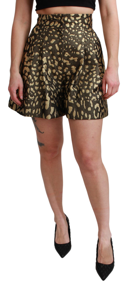 Black Gold High Waist Mini Cotton Shorts
