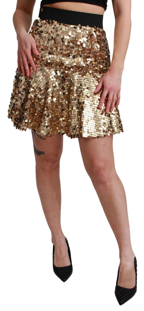 Gold Sequined High Waist A-line Mini Skirt