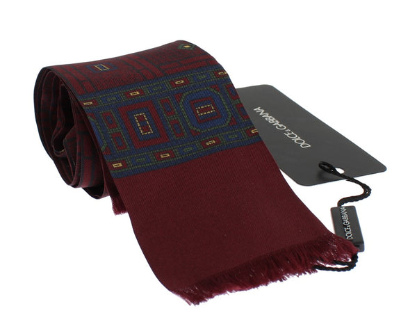 Bordeaux Silk Baroque Scarf Tie