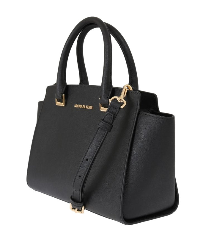 Black SELMA Leather Satchel Bag