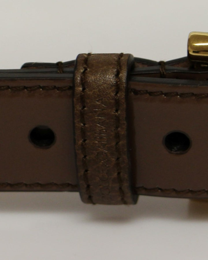 Brown Leather Gold Logo Belt