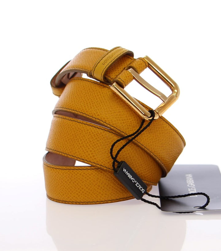 Yellow Leather Gold Logo Belt