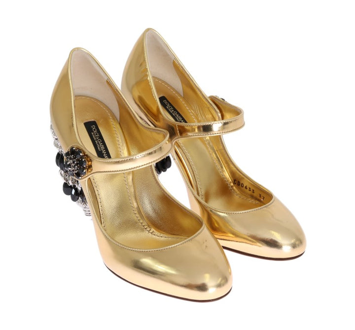 Gold Leather Crystal Chandelier Shoes