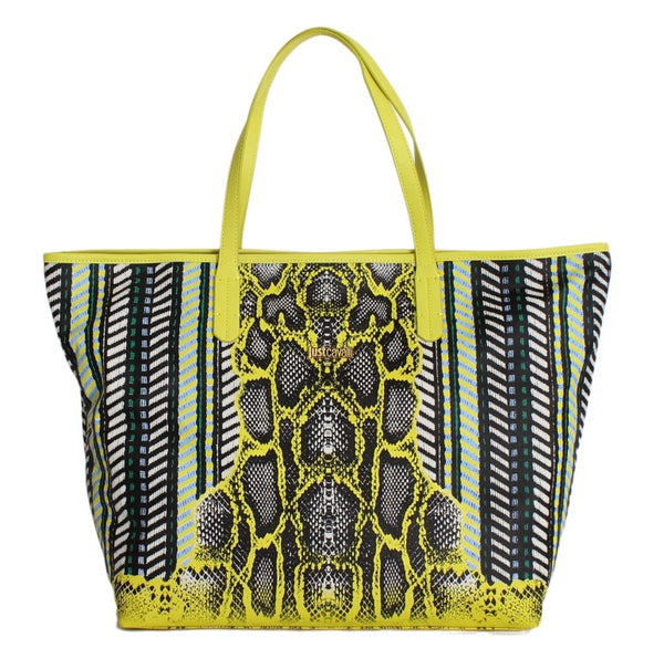 Multicolor Yellow Snakeprint Shopping Tote Bag