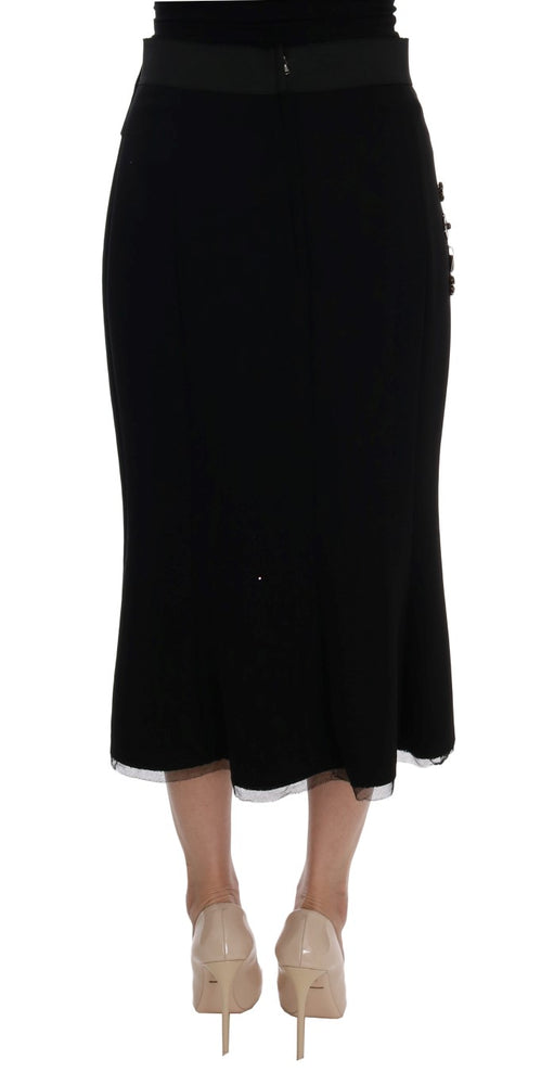 Black Wool Crystal Skirt