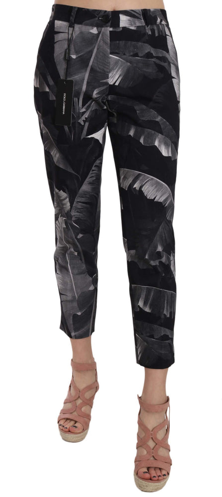 Gray Banana Leaf Print Cotton Capri Pants