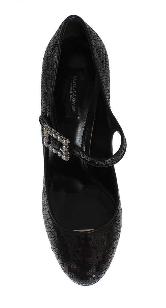 Black Leather Sequined Mary Janes Shoes