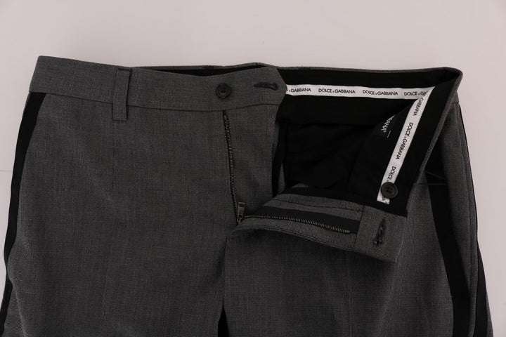 Gray Cotton Casual Slim Fit Pants