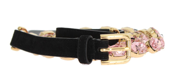 Black Leather Pink Crystal Belt