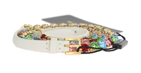 White Leather Crystal Gold Belt