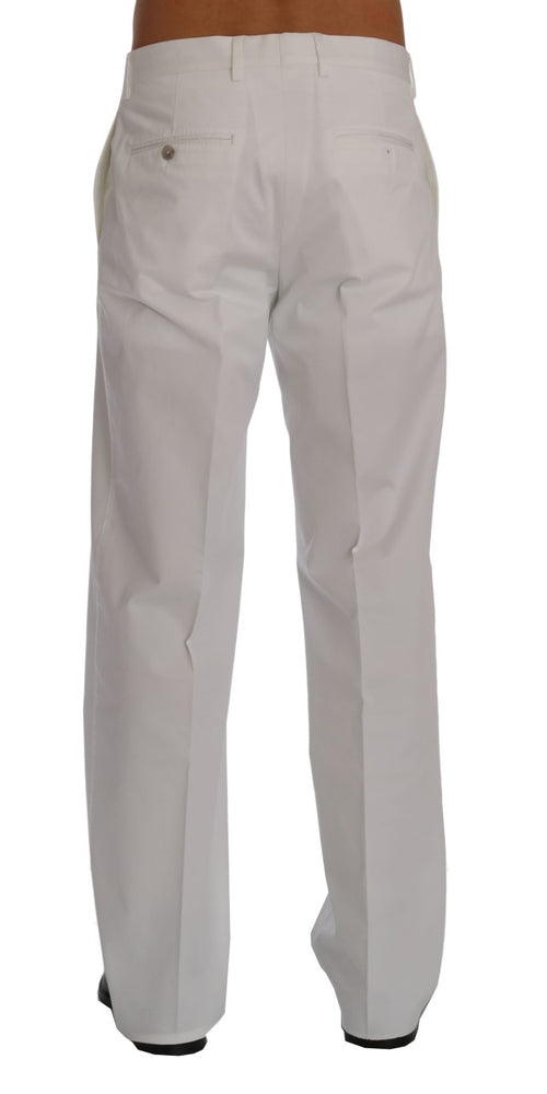 White Cotton Stretch Straight Fit Pants