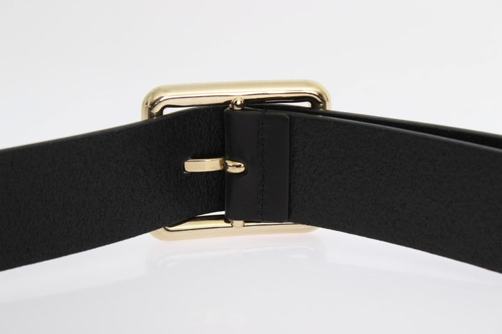 Black Leather Gold Buckle Belt