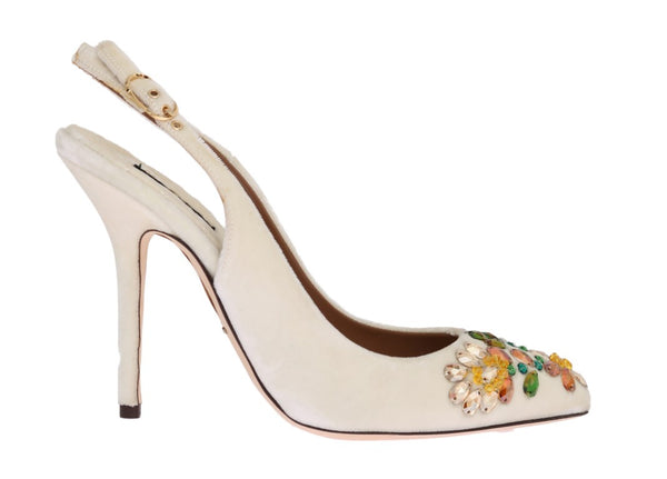White Velvet Crystal Slingback Shoes