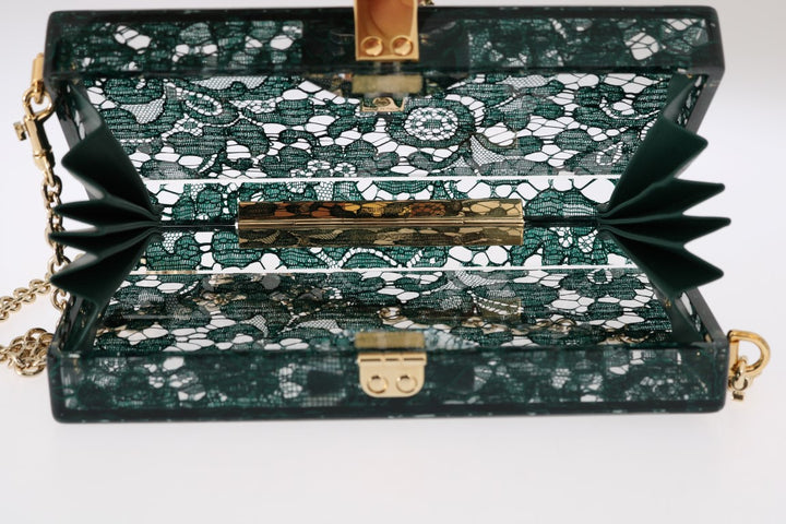 Green Taormina Lace Crystal Clutch Bag