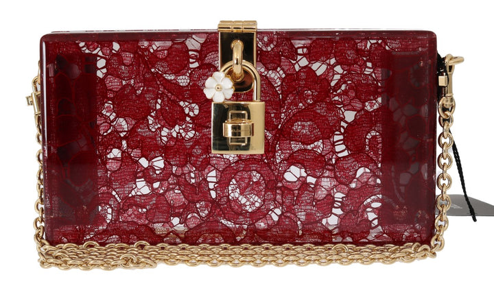 Red Taormina Lace Crystal Clutch Bag