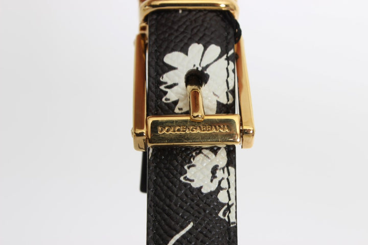 Black Leather Flower Pattern Belt