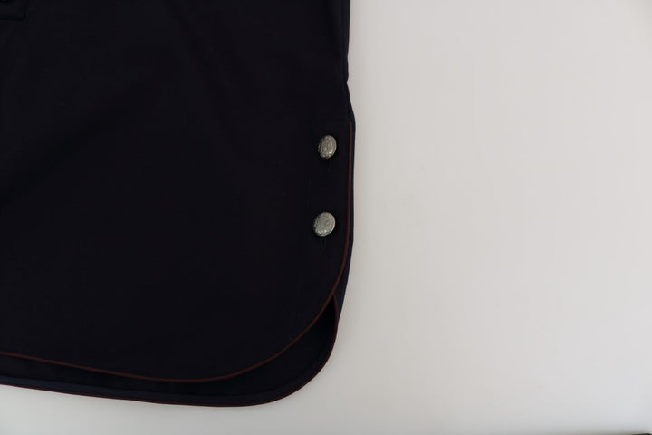 Blue Cotton Casual Silver Buttons Shirt