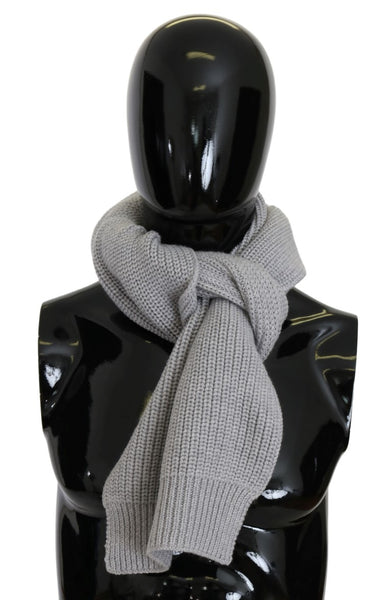 Gray Virgin Wool Knitted Scarf