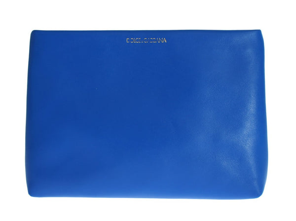 Blue Leather Zipper Clutch Hand Bag Purse Toiletry