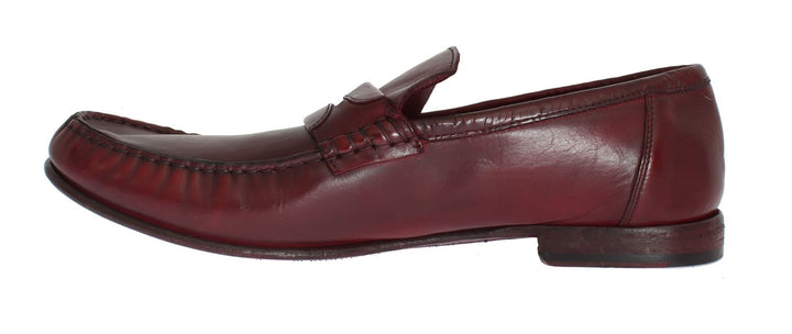Red Leather Loafers Shoes