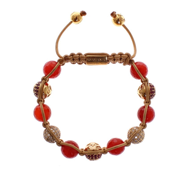 Red Jade CZ 18k Gold Plated 925 Silver Bracelet
