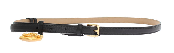 Black Leather Gold Heart MAMMA Belt