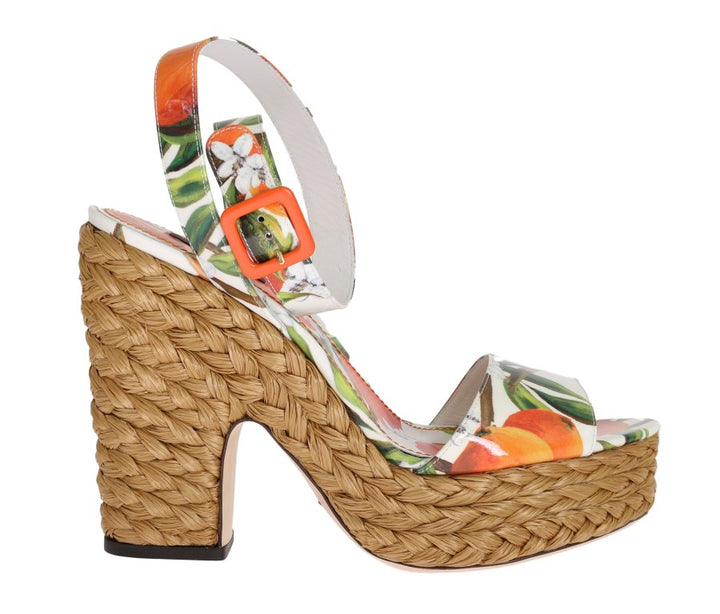 Orange Leather Straw Platform Sandals