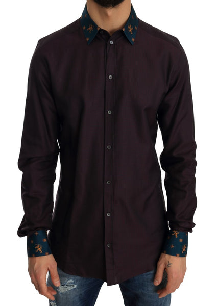 Purple Cotton GOLD Slim Shirt
