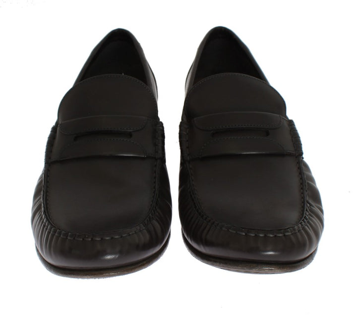 Gray Leather Loafers Shoes
