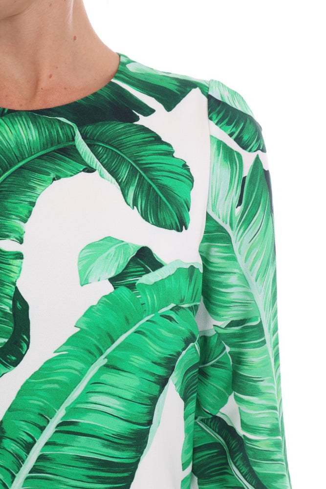 Banana Leaf Short Sleeve Shift Dress