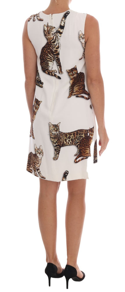 White Brown CAT Print Viscose Shift Dress