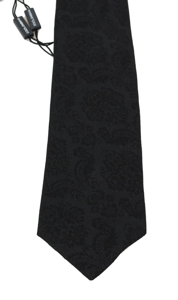 Black Silk Floral Pattern Tie