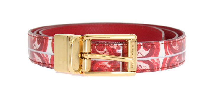 Red White Pattern Gold Buckle Belt