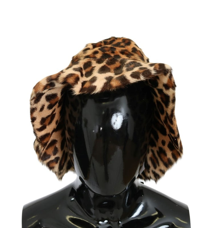 Brown Leopard Goatskin Fur Hat