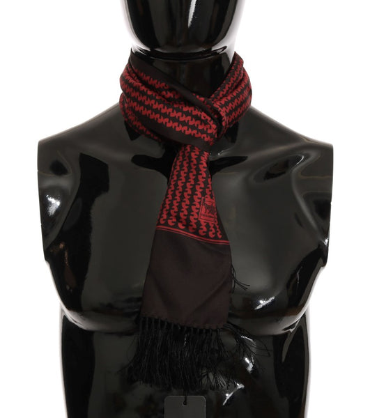 Brown Red Silk Scarf